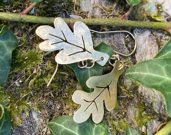 Brass Leaf Earrings - Handmade Jewellery
