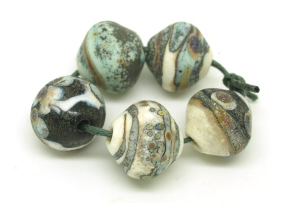 Rustic Bicones in Copper Green, Black, Ivory and Raku