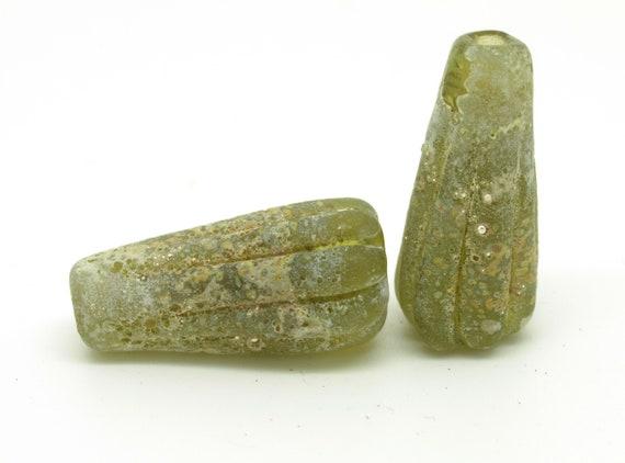 Rustic Bead Pair in Olive Green and Raku.