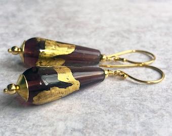 Long Teardrop Earrings Gold Vermail & Lampwork - Amethyst Purple