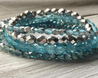 Blue Glass Bead Mix - Mixed Beads Strands -  6 strands of Czech glass beads ice blue aqua mix (ST21)