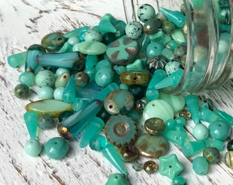 Pale Blue Ocean Blue Sale Color Mixes,Czech Glass Beads,50 Grams Mixed Lot of Quality Czech Pressed Glass Beads Jewelry Supplies