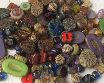 Loose Czech Glass Beads, Picasso Bead Mix - Delux Chunky assortment, Grab Bag 30 Gram Assortment