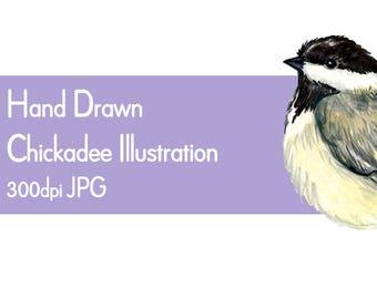 Chickadee clip art, chickadee illustration printable PDF, JPG bird clip art, instant download bird clip art