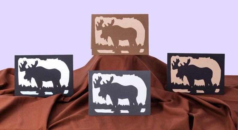 Blank All Occasion Card Silhouette Moose Card 5x7 Wildlife image 0