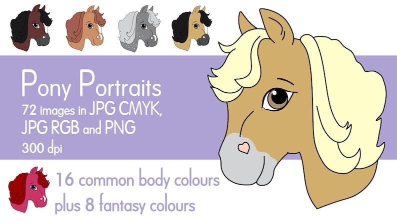 Pony Portraits Horse Clip Art JPG PNG Pony Clip Art Farm image 0