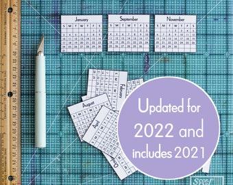 2022 Mini Calendars for Crafts & Planners, 2022 Mini Monthly Calendar, Digital Download Printable Calendar, Instant Download Calendar PDF