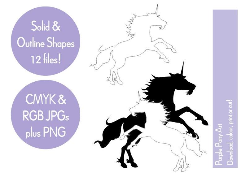 Black & white unicorn clip art fantasy clip art digital image 1