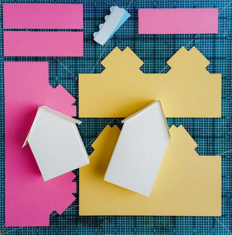3D house SVG cuttable file fold-up template print and fold image 1