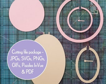 Embroidery hoop SVG digital die cut package, round cutting files & clip art, Cricut Silhouette SVG, circle and oval cuttable files plus PDF