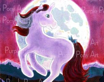 Purple unicorn wall art print, unicorn art PDF, children's wall art, fantasy wall art, cartoon unicorn printable PDF illustraton download