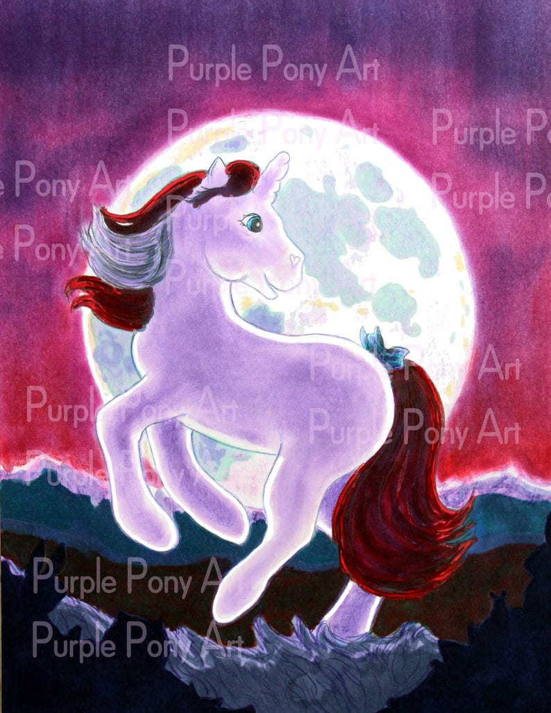 Purple unicorn wall art print unicorn art PDF children's image 1