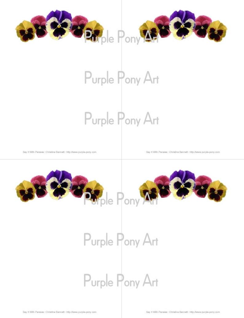 Pansy Flower Printable Notepaper  Digital Download PDF image 0