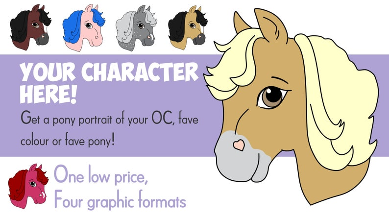 YCH  Your Character Here Custom Personal Pony Portrait JPG image 0