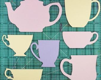 Teapots, teacups SVG digital die cut cutting file, Cricut, PDF Stencils, Scrapbooking, Cards, teatime cuttable file, tea cups clip art, tea