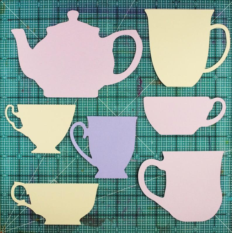 Teapots teacups SVG digital die cut cutting file Cricut PDF image 0