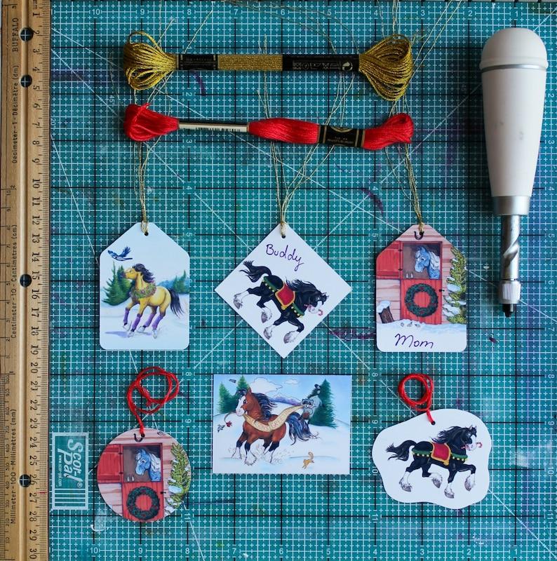 Printable Christmas Horse Gift Tags Digital Download PDF image 0