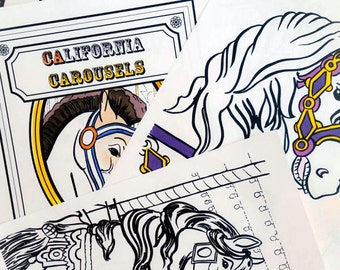Carousel horse coloring book printable PDF colouring book instant download digital download coloring pages