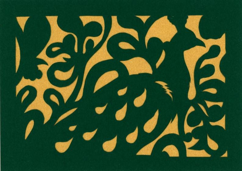 Fancy peacock 5x7 Handcut  Scherenschnitte Papercut image 0
