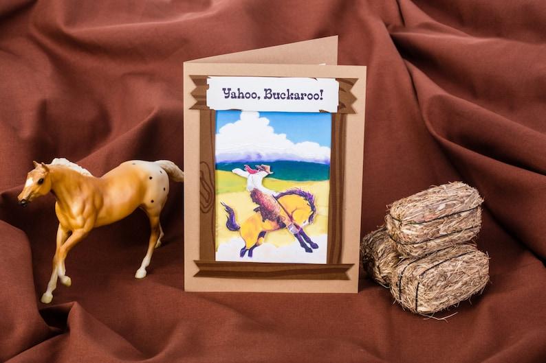 Blank Happy Birthday Cowboy Card 5x7 Western Birthday Card image 0