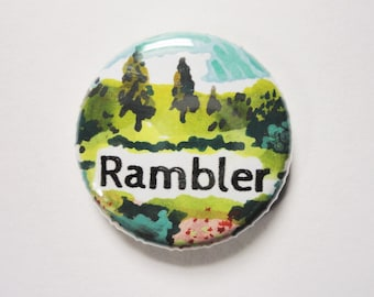 Free Shipping - Rambler - One of a Kind hand painted 1 inch pinback button