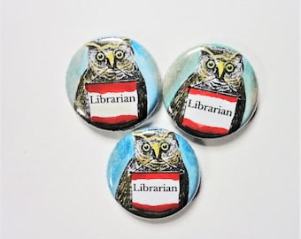 Free Shipping - Librarian Trio - 3 hand painted 1 inch pinback buttons