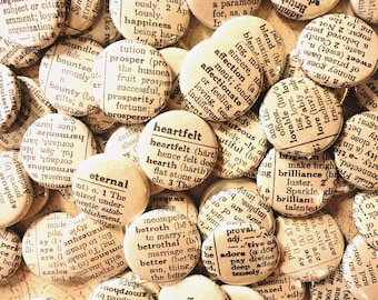 Free Shipping -Vintage Dictionary Inspired Handmade Wedding Favors -100 1 Inch Pinback Buttons - Words Enough For A Lifetime Together