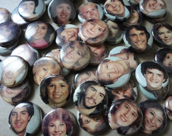Free Shipping - Handmade Wedding or Party Favors - 50 1 Inch Pinback Buttons - 1984 Yearbook Photos- Freaks and Geeks