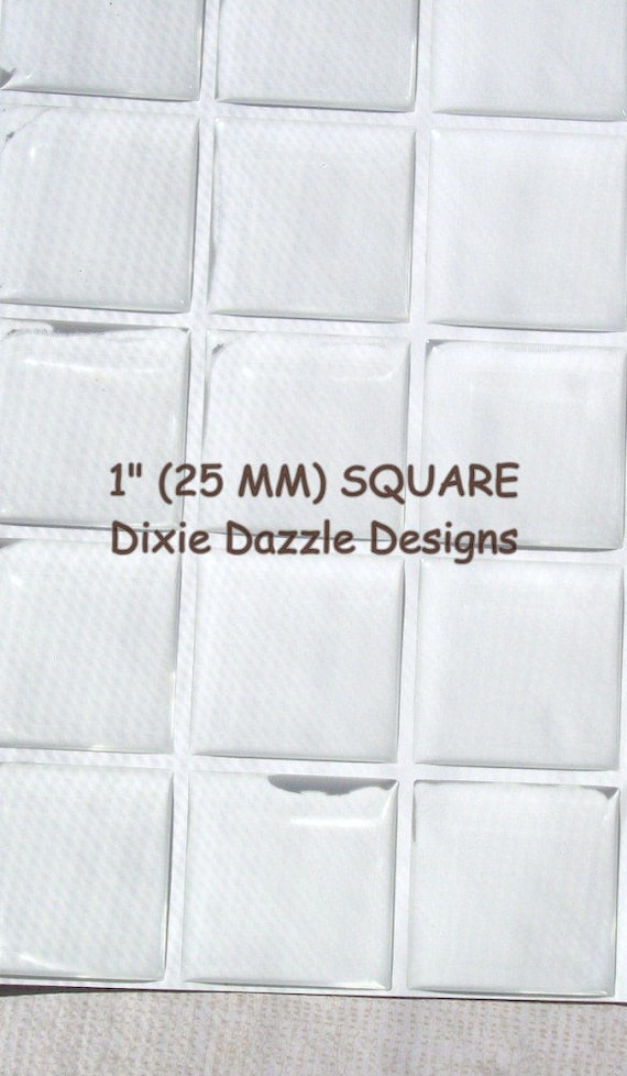 Tiles Domes Dots Seals 35mm Square Clear Epoxy Stickers FREE SHIPPING