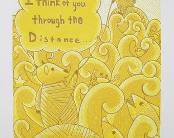 Original Print, Hand Pulled Print, Linocut Print, Multi layer Print, Relief Print, Wood cut print,I Think of You Through the Distance Poster