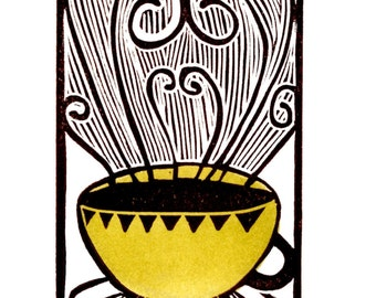 Original Handpulled, Linocut Print, Relief Print, Gold, Coffee, Print