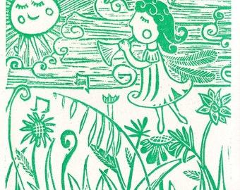Linocut print, Relief print, Wood cut print, Original print, Fairy in the meadow, Green