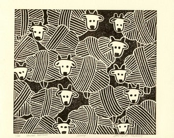 Linocut print, Relief print, Wood cut print, Original print, Hand pulled print, Limited edition, Sheep, Brown, Sale