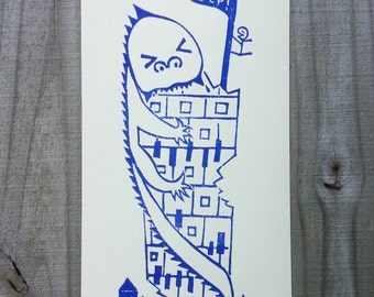 Linocut print, Relief Print, Wood cut print, Limited edition, Original print, Angry Monster Chewing Building, Blue