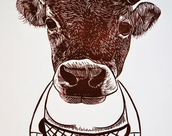 Original Print, Hand pulled Print, Linocut Print, Mama Cow, Relief Print, Nutella Brown, Wood Cut Print, Limited Edition