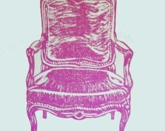 Linocut print, Relief Print, Limited edition, Original print, Wood cut print, Pink, Antique chair