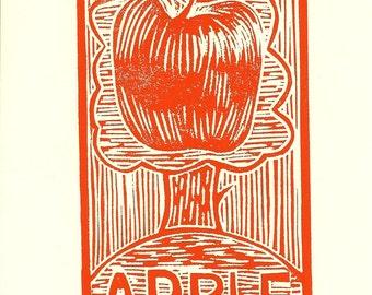 Linocut Print, Relief Print, Original print, Limited edition, Apple, Wood cut print, Apple tree, Red