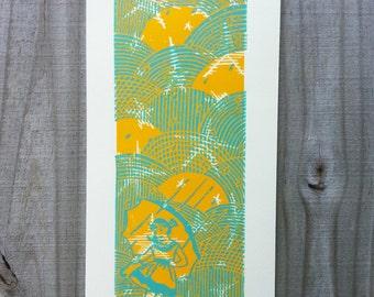 Linocut print,  Relief print, Wood cut print,  Morton salt girl, Original Print, Hand pulled print, Star Rain Parade