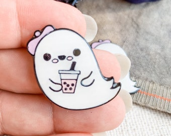 New Release! Ghost with Boba Tea Magnetic Needle Minder | Handmade Cross Stitch Accessory | Scissor Fob | Floss Ring | Thread Keep