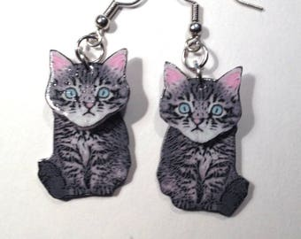Handcrafted Plastic 3D Tabby Cat Kitten Dangle Earrings Gifts for Her