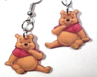 Handcrafted Plastic Pooh Bear Earrings, Necklace or Keyring Your Choice Gifts for Her NEW