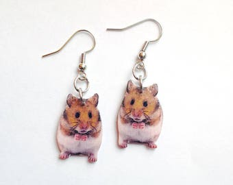 925 Sterling Silver Tiny Little Baby Hamster Mouse Mice Pet Lovers Cartoon Post Stud Earrings 5 mm