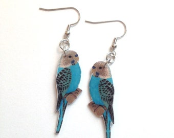Handcrafted Plastic Blue Parakeet Budgerigar Budgie Bird Earrings Bird, Gifts for Her, Jewelry, Accessories