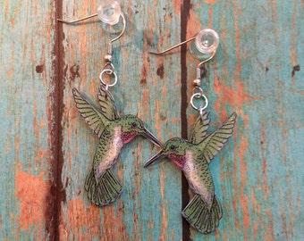 Handcrafted Plastic Red Throated Hummingbird Earrings or choice of Necklace, Keyring