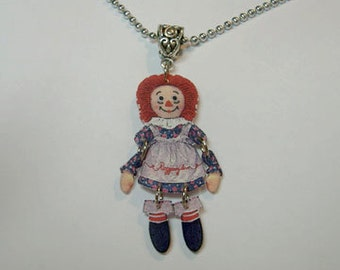 Handcrafted Plastic Jointed Raggedy Ann Charm Necklace Pendant Jewelry Accessories Fashion Novelty Unique Gift Gifts for Her