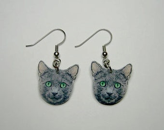 Handcrafted Plastic Gray Cat Head Green Eyes Dangle Earrings Gifts for Her