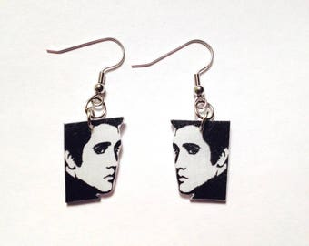 Handcrafted Plastic Elvis Presley Profile Side View Earrings Gifts for Her King of Rock and Roll