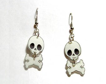 Handcrafted Plastic Jointed Skull and Crossbones Halloween Costume Party Earrings Gifts for Her skul18a