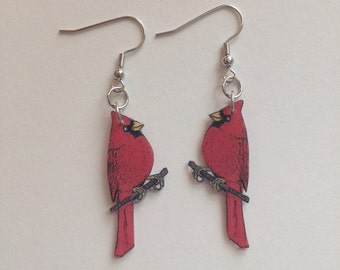 Handcrafted Plastic Red Cardinal Bird Dangle Earrings Gifts for Her card18a