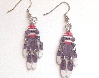 Handcrafted Plastic Fully Jointed Sock Monkey Sockmonkey Earrings Gifts for Her